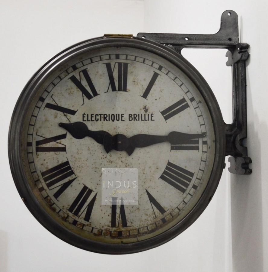 Horloge industrielle double face Brillié