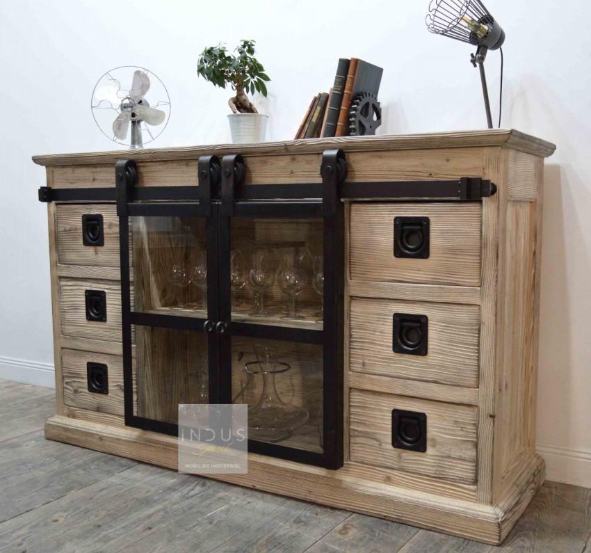 Buffet industriel porte coulissante bois et métal