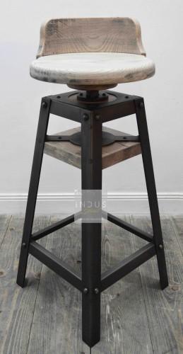 Tabouret de bar industriel réglable bois et métal