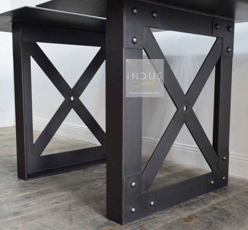 Paire de pied métal style industriel pour table