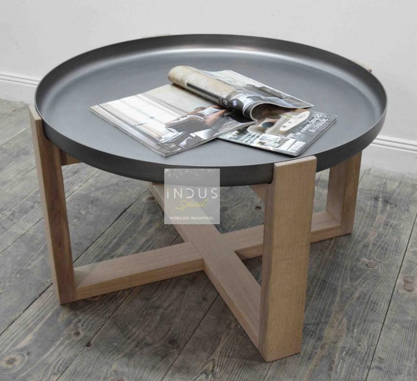 Table basse ronde métal et bois