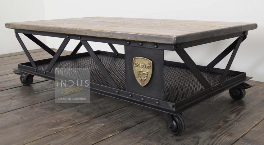 Table basse Eiffel métal et bois
