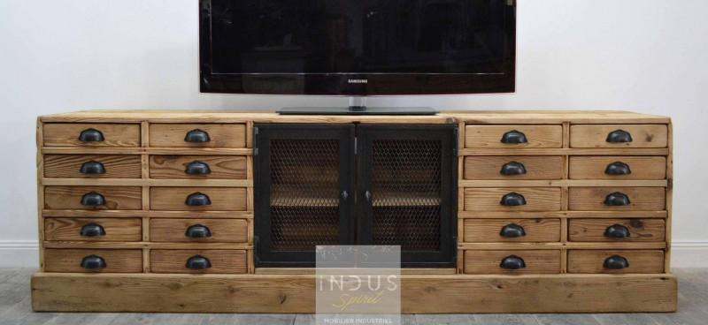 Meuble TV bois et métal avec tiroir