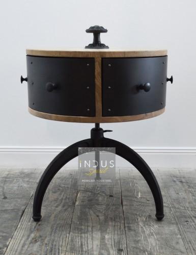 Bout de canapé rond bois et métal