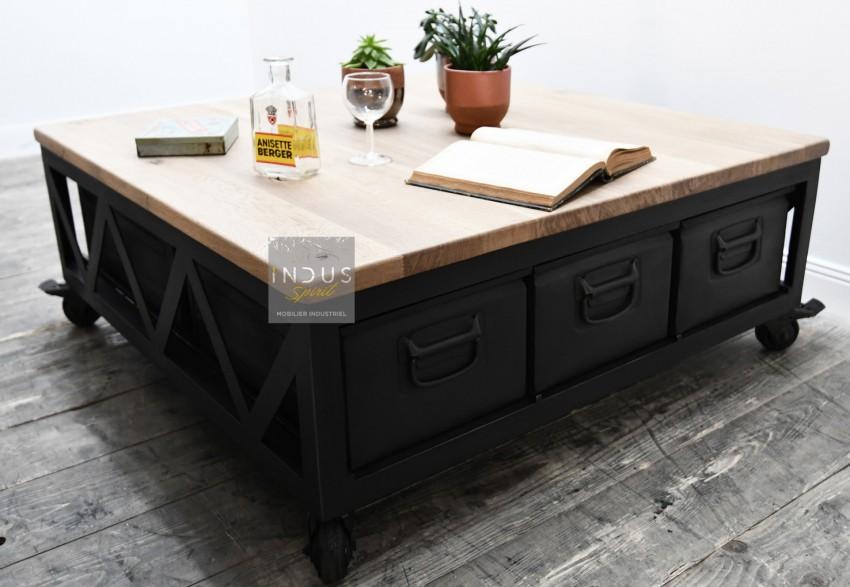 Table basse bois et métal avec tiroir