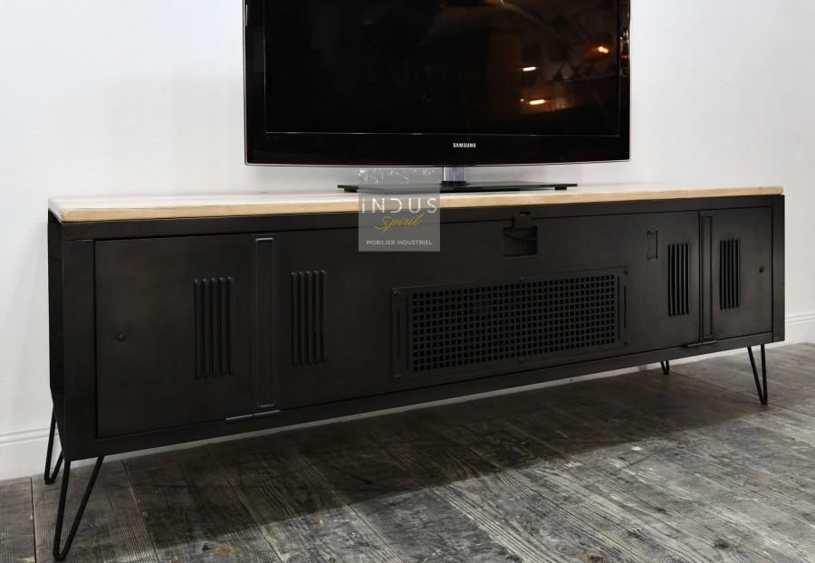 Meuble TV vintage métal et bois