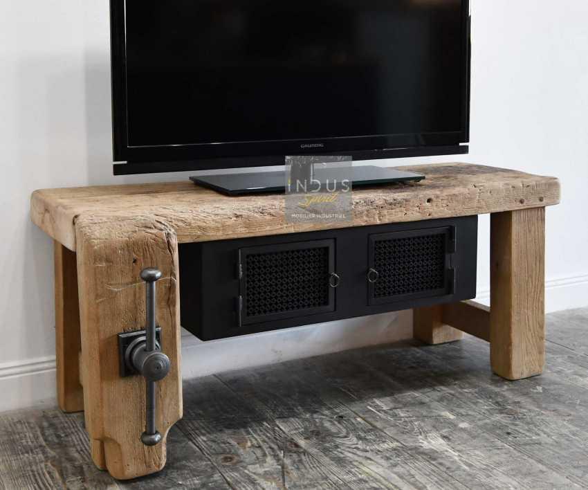 Petit meuble TV bois et métal